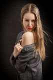 Girl shows her shoulder Royalty Free Stock Photo