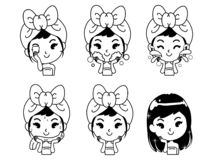 Icon how to clean face the girl. The girl shows the procedure to clean the face thoroughly and nourish the face to look beautiful for younger without wrinkles stock illustration