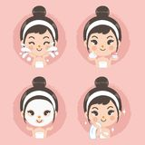 Treatment mask foam cute girl vector illustration