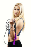 Girl Shows Rope Royalty Free Stock Photos