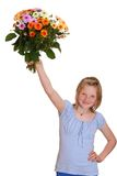 Girl shows some flowers Royalty Free Stock Photography