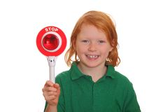 Girl shows stop sign Royalty Free Stock Photos