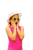 Girl shows surprised expression. Royalty Free Stock Photos
