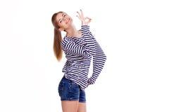 Girl shows symbols fingers Stock Image
