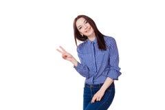 Girl shows symbols fingers Stock Photos