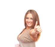 Girl shows thumb. Girl on a white background shows thumb Royalty Free Stock Image