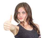 Girl shows the thumb. Isolated Royalty Free Stock Photos