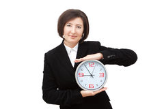 The girl shows the time. Royalty Free Stock Photos