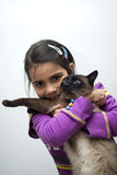 Girl with siamese cat Royalty Free Stock Photography