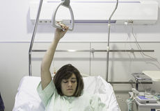 Girl sick hospital bed Royalty Free Stock Photography