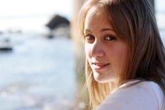 Girl side profile Stock Photos