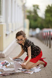 Girl on the sidewalk Royalty Free Stock Photo