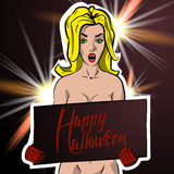 Girl with a sign congratulating Halloween. Vector illustration of a pin up style. Dark background Stock Photo