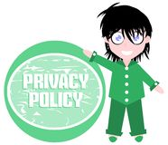 Girl and sign with written privacy policy isolated Royalty Free Stock Photo