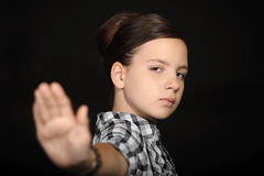 Girl signaling to stop Royalty Free Stock Images