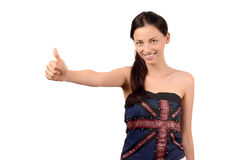 Girl signing thumbs up for England. Royalty Free Stock Image