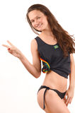 Girl signing victory for Brazil. Royalty Free Stock Image