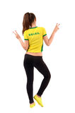 Girl signing victory for Brazil. Stock Image