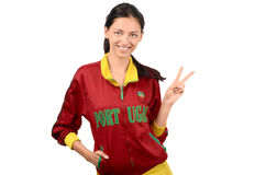 Girl signing victory for Portugal. Stock Photography