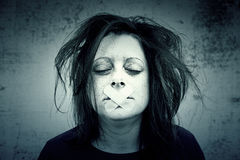 Girl in silence. With depression and madness Stock Photography