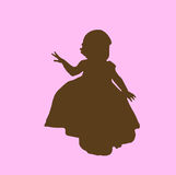 Girl silhouette. Toddler girl dancing in pink and brown silhouette Royalty Free Stock Photos