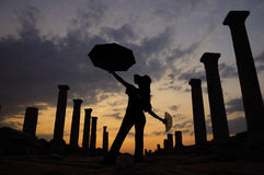 Girl silhouette. Laodikea the sunset silhouette work royalty free stock photos