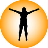 Girl silhouette. On yellow background Stock Photo