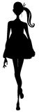 Girl silhouette. Drawing of black girl silhouette in a white background Royalty Free Stock Images