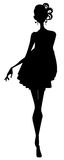 Girl silhouette. Drawing of black girl silhouette in a white background Royalty Free Stock Photography