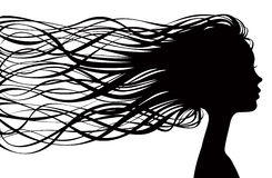 Girl silhouette. With wavy hair on wind Royalty Free Stock Images