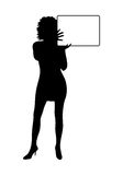 Girl silhouette with banner isolated Royalty Free Stock Photography