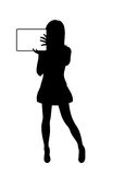 Girl silhouette with banner isolated Stock Photo
