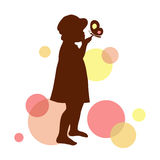 Girl silhouette with butterfly. Girl silhouette with butterfly on the abstract bubbles background Stock Photo