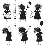 Girl Silhouette Character Traits Clip Art Collection Royalty Free Stock Photos