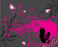 Girl silhouette with floral ornaments. And swirls coming out from his hair Stock Photos