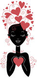 Girl silhouette with hearts Stock Images