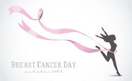 Girl silhouette with pink ribbon for breast cancer Royalty Free Stock Photography