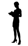 Girl Silhouette. Reading a Book Royalty Free Stock Images