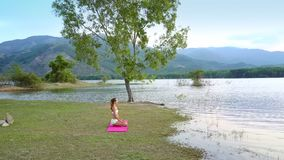 Girl silhouette sits in yoga pose at tree watches lake hills. Backside view girl silhouette in white top sits in yoga pose at large tree on lake bank and watches stock video