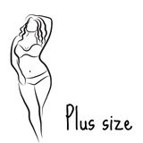 Girl silhouette sketch plus size model. Curvy woman symbol. Vector illustration Stock Photography