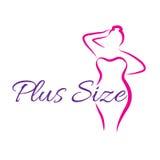 Girl silhouette sketch plus size model. Curvy woman symbol. Vector illustration Stock Photo