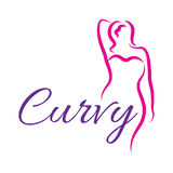 Girl silhouette sketch plus size model. Curvy woman symbol. Vector illustration.  Stock Photos