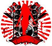 Free Girl Silhouette, Sound Speaker Stock Image - 2294521