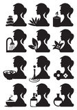 Girl Silhouette and Spa Treatment Icons Stock Photography