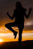 GIRL SILHOUETTE Stock Photography