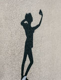 Girl silhouette taking selfie with smart phone Royalty Free Stock Photos