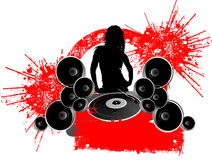 Girl Silhouette Turntable Royalty Free Stock Photo