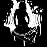 Girl Silhouette, Turntable Stock Image