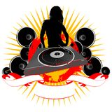 Girl Silhouette, Turntable And Sound Royalty Free Stock Photos