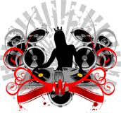 Girl Silhouette, Turntable, Sound and Curves. Vector Illustrate. No Meshes Stock Photography